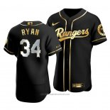 Maglia Baseball Uomo Texas Rangers Nolan Ryan Golden Edition Autentico Nero