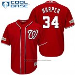 Maglia Baseball Uomo Washington Nationals 2017 Postseason Bryce Harper Rosso Cool Base