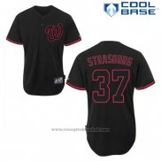Maglia Baseball Uomo Washington Nationals Stephen Strasburg 37 Nero Fashion Cool Base