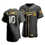 Maglia Baseball Uomo Atlanta Braves Chipper Jones Golden Edition Autentico Nero Or