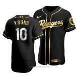 Maglia Baseball Uomo Texas Rangers Michael Young Golden Edition Autentico Nero