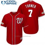 Maglia Baseball Uomo Washington Nationals 2017 Postseason Trea Turner Rosso Cool Base