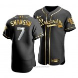 Maglia Baseball Uomo Atlanta Braves Dansby Swanson Golden Edition Autentico Nero Or