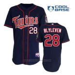 Maglia Baseball Uomo Minnesota Twins Bert Blyleven 28 Blu Alternato Home Cool Base