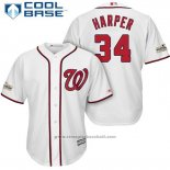 Maglia Baseball Uomo Washington Nationals 2017 Postseason Bryce Harper Bianco Cool Base