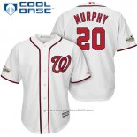 Maglia Baseball Uomo Washington Nationals 2017 Postseason Daniel Murphy Bianco Cool Base