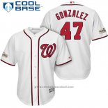 Maglia Baseball Uomo Washington Nationals 2017 Postseason Gio Gonzalez Bianco Cool Base