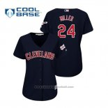 Maglia Baseball Donna Cleveland Indians Andrew Miller 2019 All Star Patch Cool Base Blu