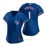 Maglia Baseball Donna Texas Rangers Elvis Andrus Replica Alternato Blu