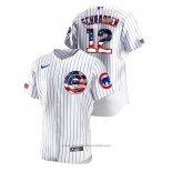 Maglia Baseball Uomo Chicago Cubs Kyle Schwarber 2020 Stars & Stripes 4th of July Bianco