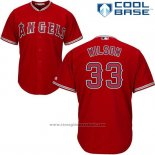 Maglia Baseball Uomo Los Angeles Angels 33 Cj Wilson Rosso Cool Base