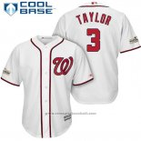 Maglia Baseball Uomo Washington Nationals 2017 Postseason Michael Taylor Bianco Cool Base