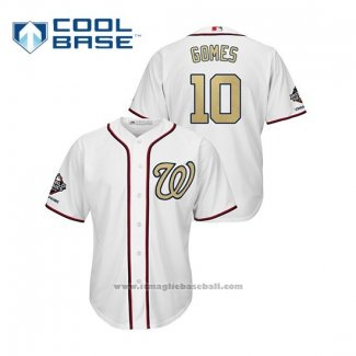 Maglia Baseball Uomo Washington Nationals Yan Gomes 2019 Gold Program Cool Base Bianco